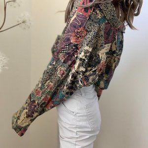 Vintage Silk Patterned Dolman Button Up Blouse